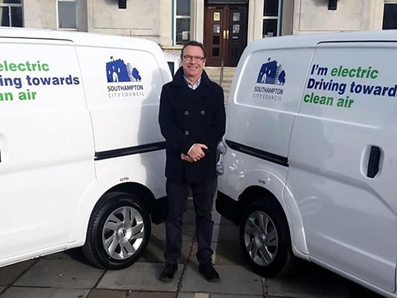 Portswood Councillor Paul O'Neill with Southampton City Council's new electric fleet vehicles