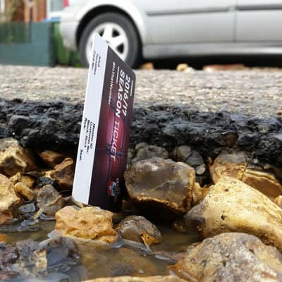Southampton season ticket in a pot hole