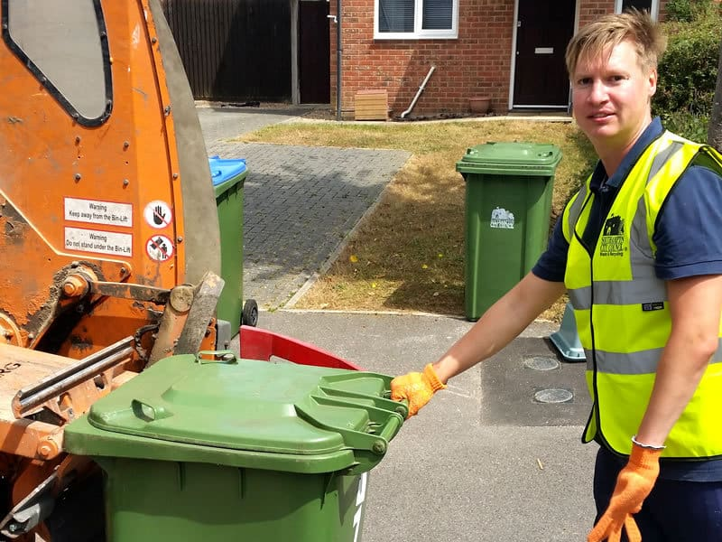 Steven Galton working as a refuse collector emptying your bins