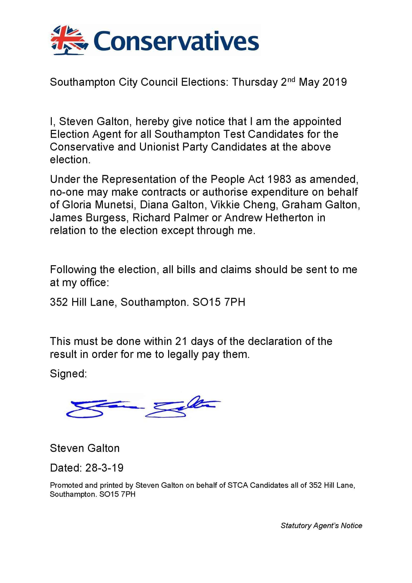 STCA Agents' Statutory Notice
