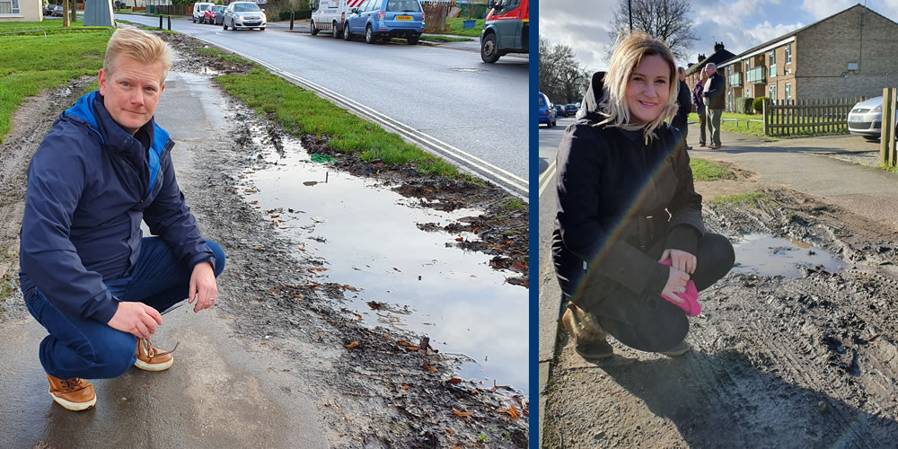 Muddy messes due to cars parking on verges